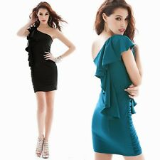 New Fashion Womens One Shoulder Flouncing Bodycon Mini Dress Cocktail Party 6597
