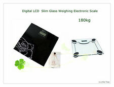 New180KG Digital LCD Slim Glass Bathroom Platform Body Weighing Electronic Scale