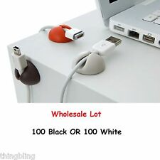 Wholesale 100 Cable clip desk tidy organiser wire drop lead USB CHARGER HOLDER