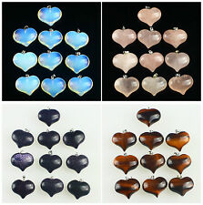 F0289 Ten Tiger eye Blue sandstone Pink quartz Opalite heart-shaped pendant bead