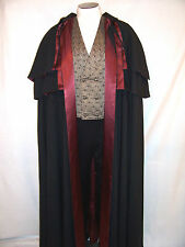 VICTORIAN MEN'S OPERA CLOAK S to XL with 2 Capelets Black Long Cape Wine Navy