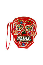 Day Of The Dead Embroidered Sugar Skull Coin Purse / Cosmetic Bag - Mexican Folk