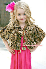 Leopard Kids Girl Soft Fur with Pearl Bead Capelet Coat Size 2-6Year Shawl SH23