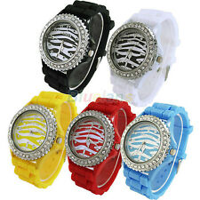New 8 Colors Women/Girl Jelly Quartz Crystal Silicone Wrist Watch Zebra Strip