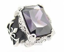 Men's Dragon Claw Amethyst Purple CZ Stainless Steel Ring Size 8,9,10,11,12,13