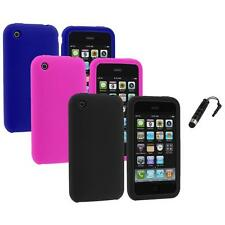 Silicone Soft Color Gel Case Cover Accessory+Stylus Plug for Apple iPhone 3G 3GS
