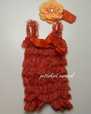 Newborn Baby Girls Orange Lace Petti Rompers Straps Bow Peony Headband 3pc Set