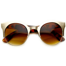 Designer Fashion Round Metal Half Frame Cateye Sunglasses 8821