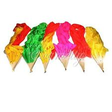 1.8m Hand Made Colorful Belly Dance Dancing Silk Bamboo Long Fans Veils 6 Colors