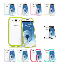 Bumper Case Cover with Icy Clear Back For Samsung Galaxy S3 SIII + Screen Film