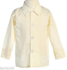 New Boys Ivory Long Sleeve Tuxedo Shirt With Lay Down Collar Wedding Sz 3M-10