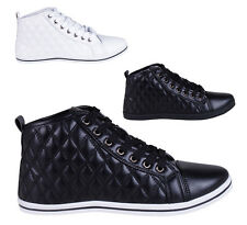 Women's Fashion Quilted Pattern High Top Trainers