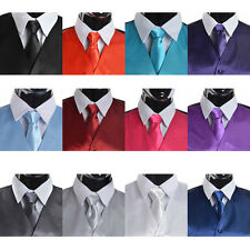 Men's Suit Tuxedo Dress Vest Necktie Bow Tie Handkerchief Set  #w