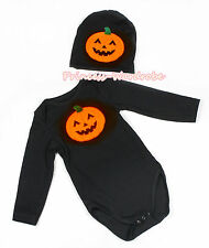 Halloween Black Orange Pumpkin Baby Jumpsuit Romper Long Short Sleeve NB-12Month