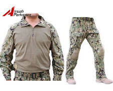 Airsoft Tactical Military Hunting Combat Uniform Shirt Pants w/ Knee Pads AOR2