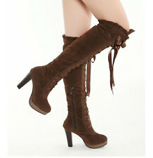 2013 Women Korean version of the lace ribbon round-heeled boots Knight