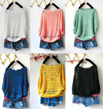 Sexy Women Knitted Batwing Hollow Casual Loose Pullover Sweater Jumper Tops