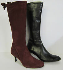 DUO Ladies Heeled Boots - Kirov - Black Leather or Burgundy Suede - Bow Detail