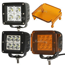 16W/18W CREE Flood Spot Beam Led Work Light Offroad Driving Lamp + Amber Cover