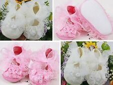 Newborn shoes Girl Toddler Non-slip Beautiful Lace baptism christening shoes