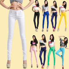 New Candy Color Womens Stretch Pencil Pants Casual Slim Skinny Jeans Trouser