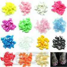 New Colorful 20pcs Soft Cat Pet Nail Caps Claw Control Paws off + Adhesive Glue@