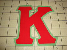 CUSTOM 5 INCH GREEK SORORITY/FRATERNITY (NO SEW) IRON ON LETTERS - RED/GREEN