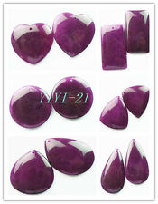 YIYI-21 Exquisite Purple Jade Pendant Bead 2pcs