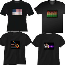 Chic EL Led Equalizer T-Shirt Sound Activated Flashing light up and down Pattern