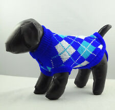 Dog Sweater Blue Plaid XS S M L XL Knitted Jacket Jumper Puppy Coat Chihuahua