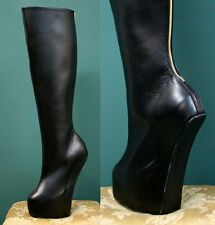 Knee Hi Extreme Fetish Heelless Pony Stallion Hoof Sole Platform Golden Back Zip
