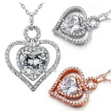 Heart Cut 3 Carat Heart Created Diamond Sterling 925 Silver Pendant Necklace