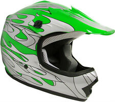 Youth Kids Motocross Dirt Bike Off-Road MX Green Silver Flame Helmet~S, M, L