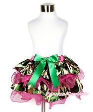 Hot Pink Camouflage Chiffon Petal Pettiskirt Kelly Green Bow for Girl Baby NB-8Y