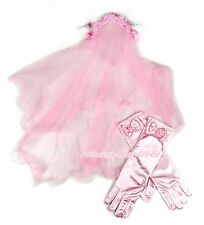 FLOWER GIRL Pink Wedding Veil Mask with Lacing Rosette Headband For Child Bridal