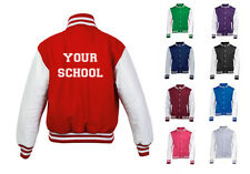 NEW MENS WOMENS KIDS PERSONALISED BACK TEXT YOUR SCHOOL COAT VARSITY JACKET