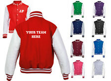 NEW MENS WOMENS KIDS PERSONALISED YOUR TEAM AND INITIALS COAT VARSITY JACKET
