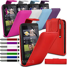 Leather Flip Skin Case Screen Protector  & Retractable Stylus Pen For HTC HD7