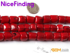 "Freeform Column Red Coral Stone Beads For Jewelry Making Gemstone Strand 15"" DIY"