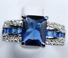 New blue crystal Silver plated Ring size 7,8,9