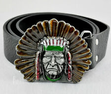 Western Indian Native Chief Head Metal Mens Boys Buckle Leather Belt 38 39 inch