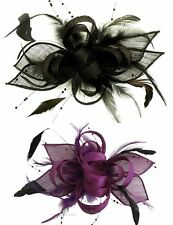 New Black or Purple Beaded Feather Hair Fascinator Races
