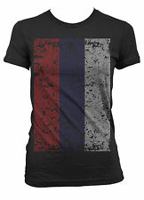 Russia Russian Россия Rossiya Flag Oversized Distressed Juniors Girls T-shirt