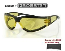 Bobster Sunglasses Shield 2 Glasses BLACK W YELLOW LENS Frameless Wraparound Boy