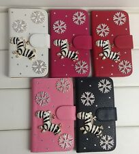 Cute Zebra with Snowflakes PU Leather Flip Wallet Case Cover for LG Cell Phone
