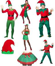 Christmas Elf Ladies Fancy Dress Costume Mens Childrens Xmas Elfs Hat Outfit