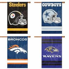 "Choose Your NFL Football Team 44"" x 28"" Embroidered 2-Sided Applique Banner Flag"