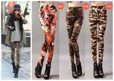 Women Retro Punk Funky Sexy Camo Army Camouflage Leggings Skinny Pants Stretchy