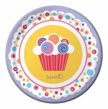 """Sweet Cupcake Birthday Party Supplies Plates Dessert 7"""" or Lunch 9"""""""