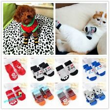 Warm Indoor Pet Dog Cat puppy Anti-slip Knit Weave Socks Skid Bottom 4pcs/set